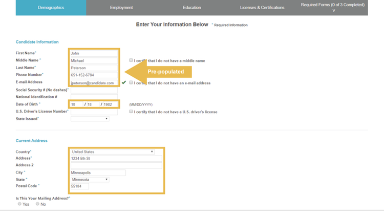 Background Check Request Forms are Pre-populated with Information Captured in SAP SuccessFactors