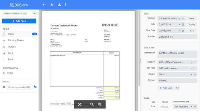 Side By Side Invoice View